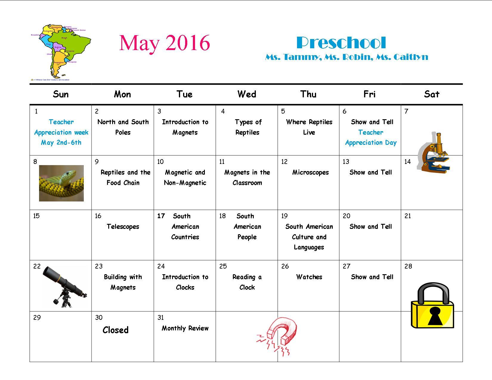 Kindergarten Calendar S S : May calendar university weinacker s montessori