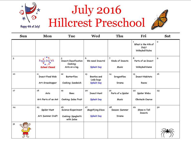 HC July 2016 Preschool calendar
