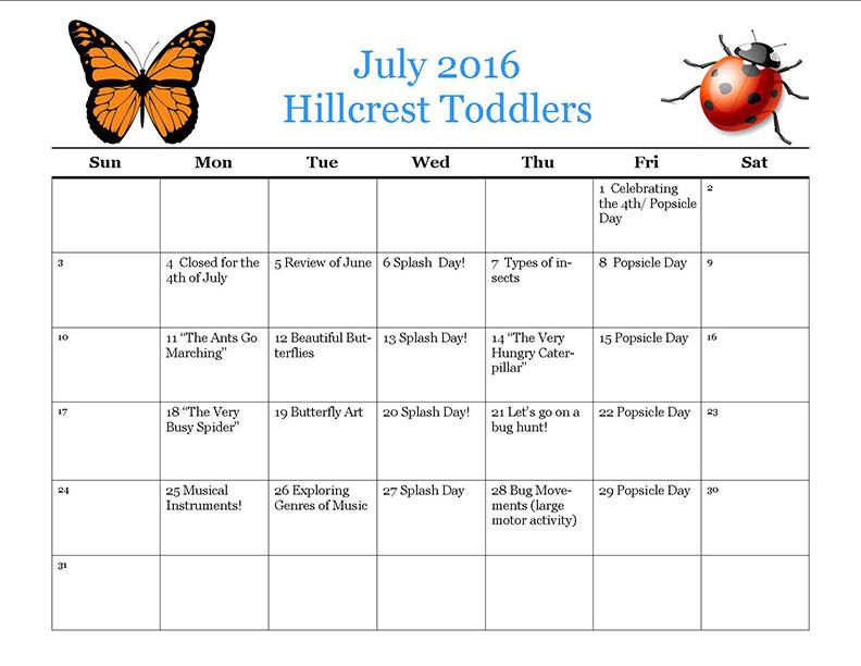 HC toddlerjuly 2016 calendar