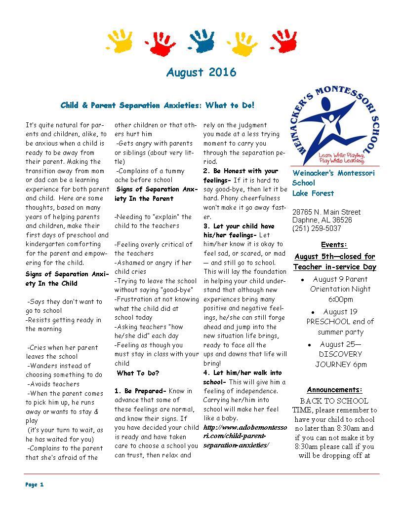 LF August 2016 Newsletter