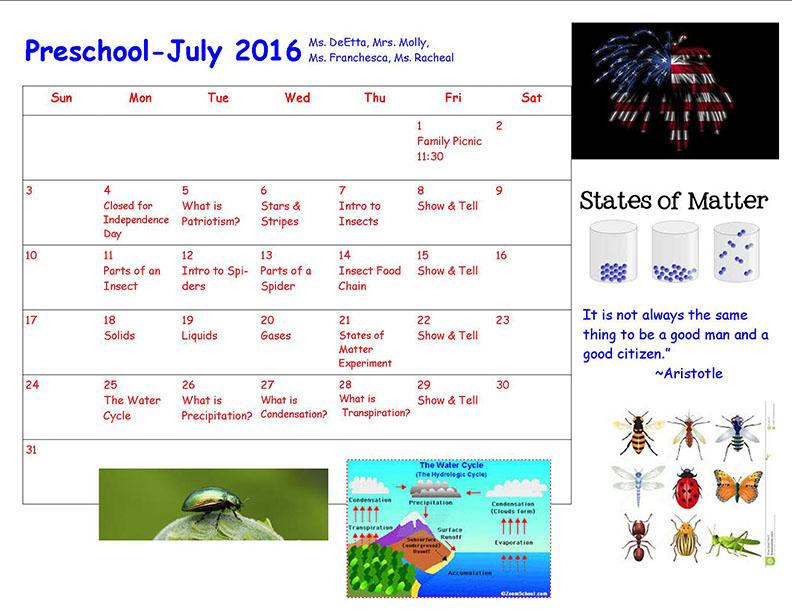 LF Pre-K July 2016 Calendar