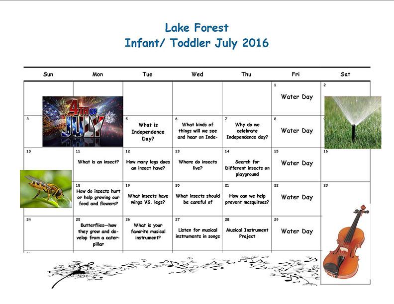 LF infant toddler July calendar
