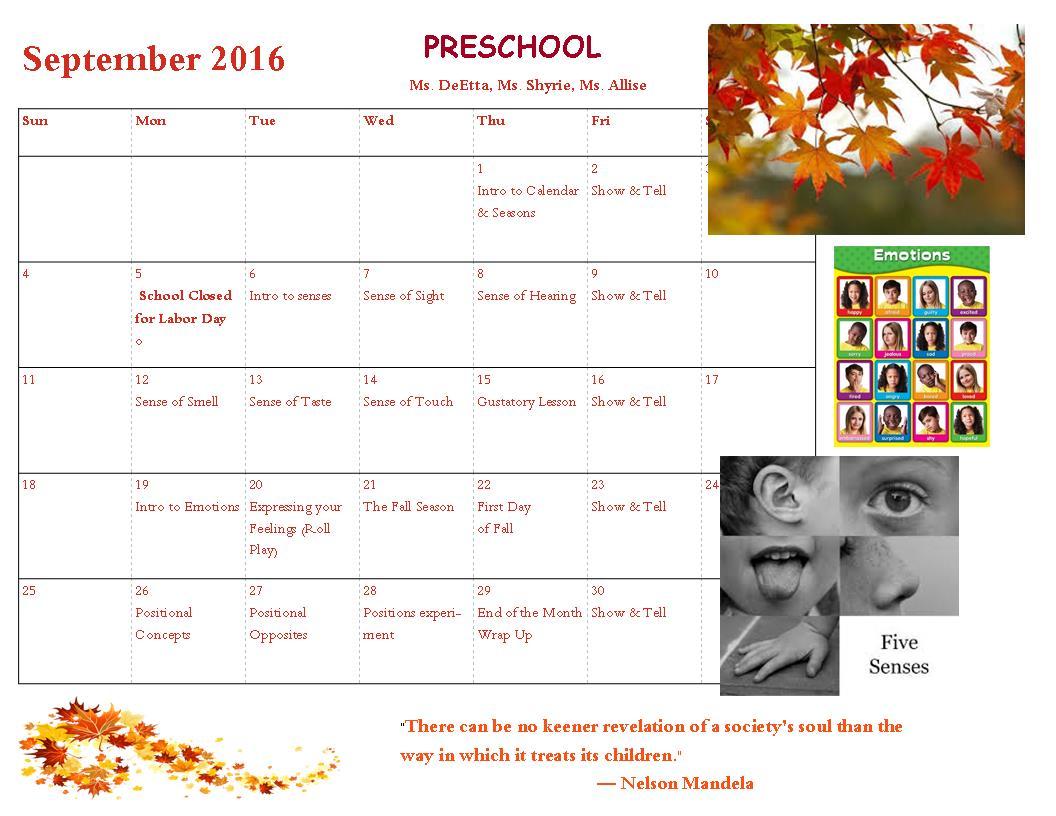 LF Preschool-Calendar Sept 2016
