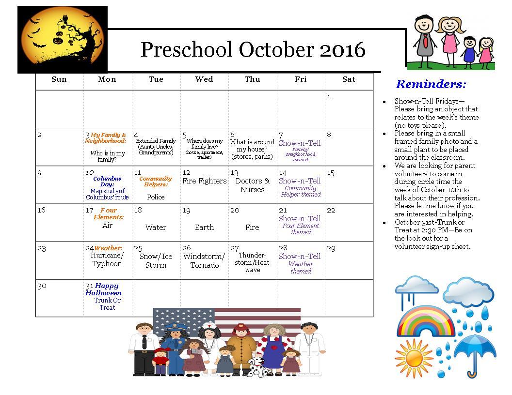 Kindergarten October Calendar : October hillcrest weinacker s montessori