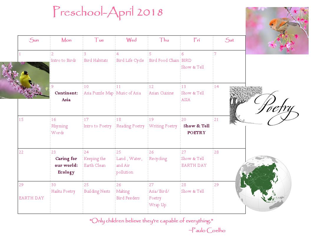April Calendar S Kindergarten : April lake forest weinacker s montessori