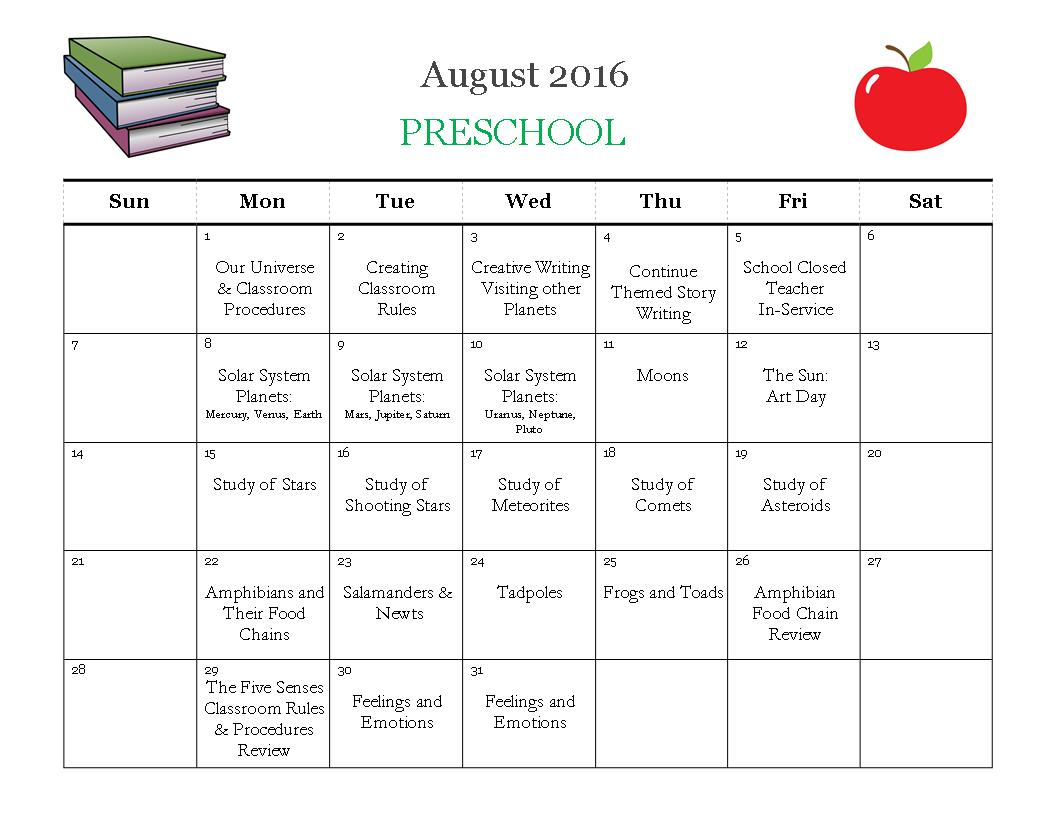 HC August 2016 PS Calendar