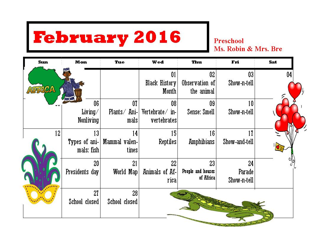 UN Feb PreK calendar