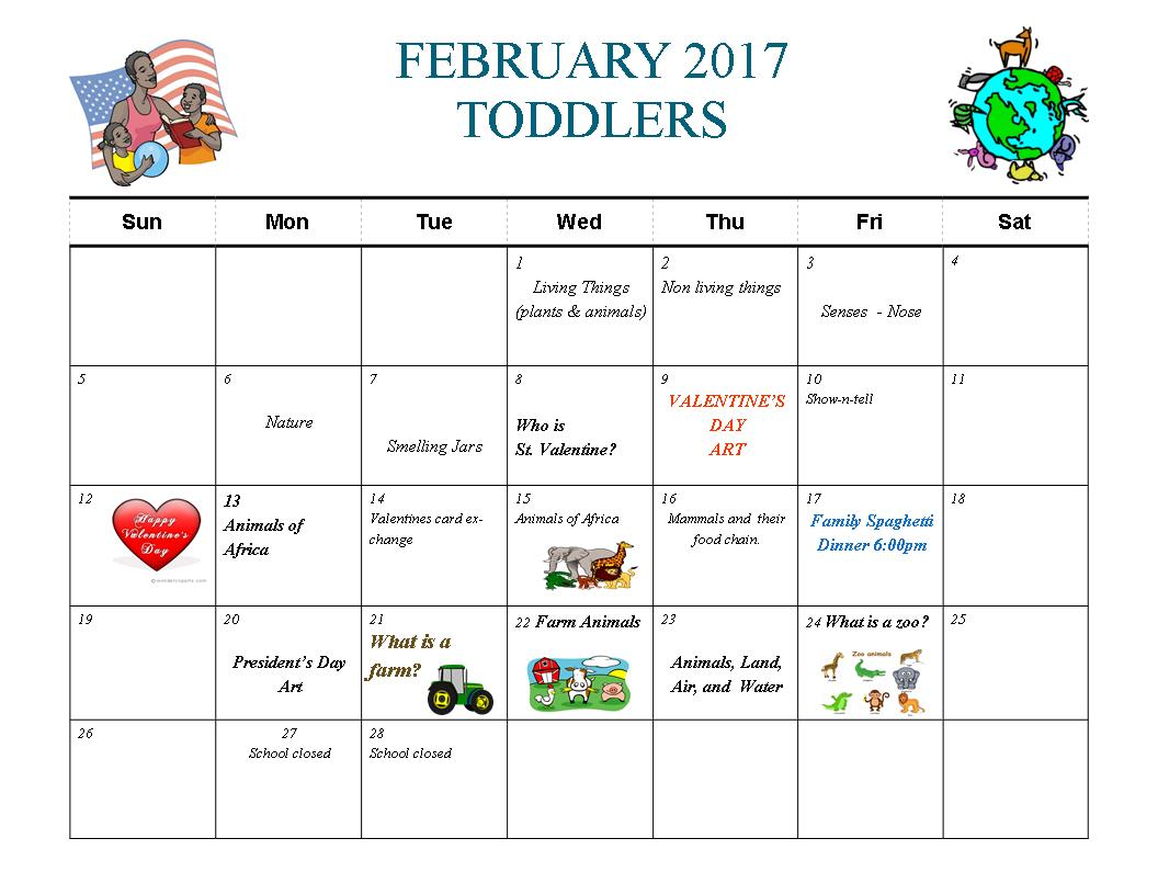 UN Feb Toddler Calendar
